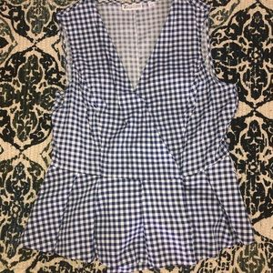 NY & Co super cute navy and white checkered top.
